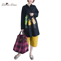 BelineRosa 2017 Kawaii Styl Kobiety Odzież Drukowanie Znaków Czarny i Czerwony Kolor Kobiety Bluzka Plus Size zZRK00010