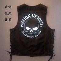 Free shipping,100% Genuine leather men vest.Cool motorbiker mens vests,skull sleeveless leather jacket Brand sales 2017 style