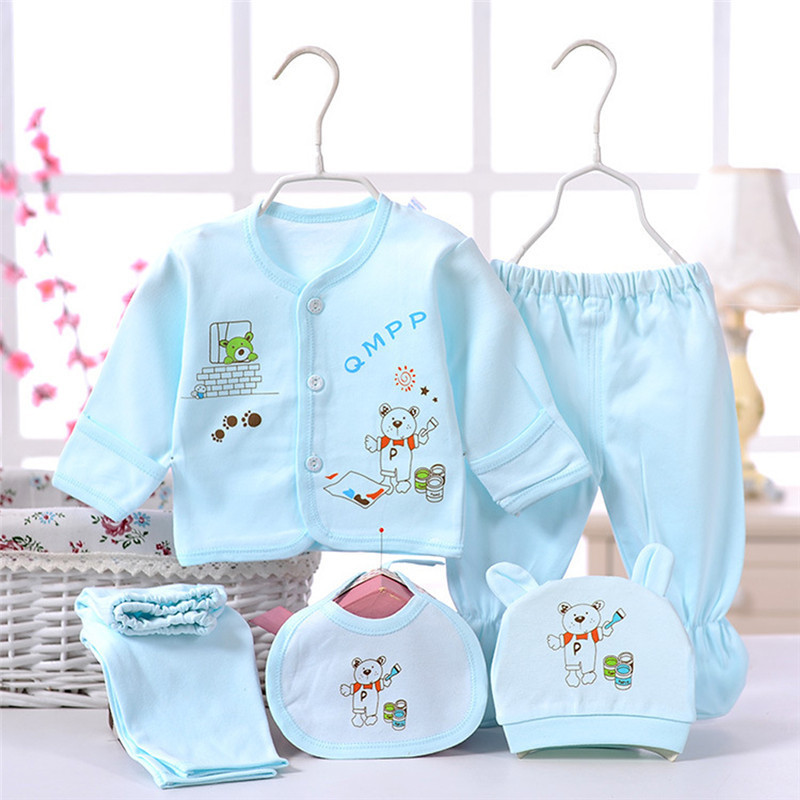5pcs/set Cute Newborn Baby Boys Girls Clothing Set Cotton Cartoon Long Sleeve Tops Pants Caps Bibs Toddler Underwear 0-6M  Hot cotton baby rompers set newborn clothes baby clothing boys girls cartoon jumpsuits long sleeve overalls coveralls autumn winter