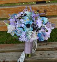 Handmade Materiały Ślubne Bukiet Ślubny Druhny Fioletowy Niebieski Sztuczne Kwiaty Romantic Bride Gospodarstwa Kwiaty Dekoracji