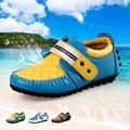 Tamaño 26-37 niños solos shoes niños zapatillas para niños y niñas de cuero de vaca ocasional pisos de alta calidad suave-soled shoes