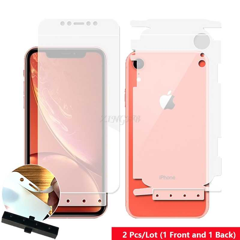 2 Pcs Front & Back Smart Guide Tool Soft Film AUTO Fixed Hydrogel Film Full Body Screen Protector for iPhone XR 6.1""