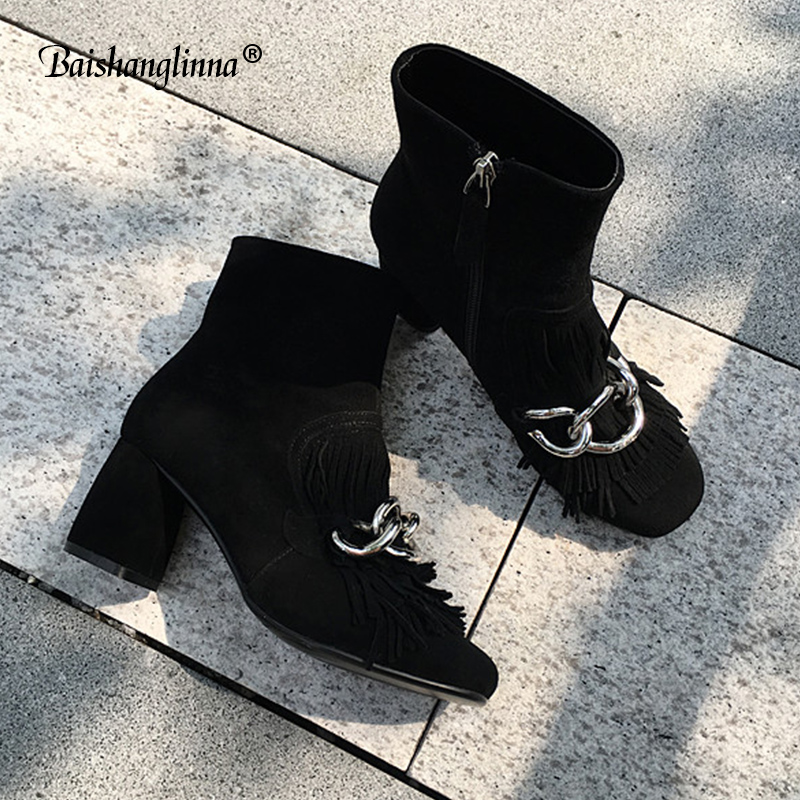 2018 women ankle boots high heel genuine leather winter boots pointed toe fashion shoes Casual Handmade shoes solid women boots