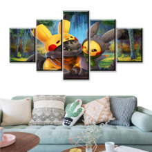 HD Print Movie Pikachu 5 Piece Digimon Adventure Canvas Poster Paintings Modern Pictures Wall Art For Home Decor Decoration