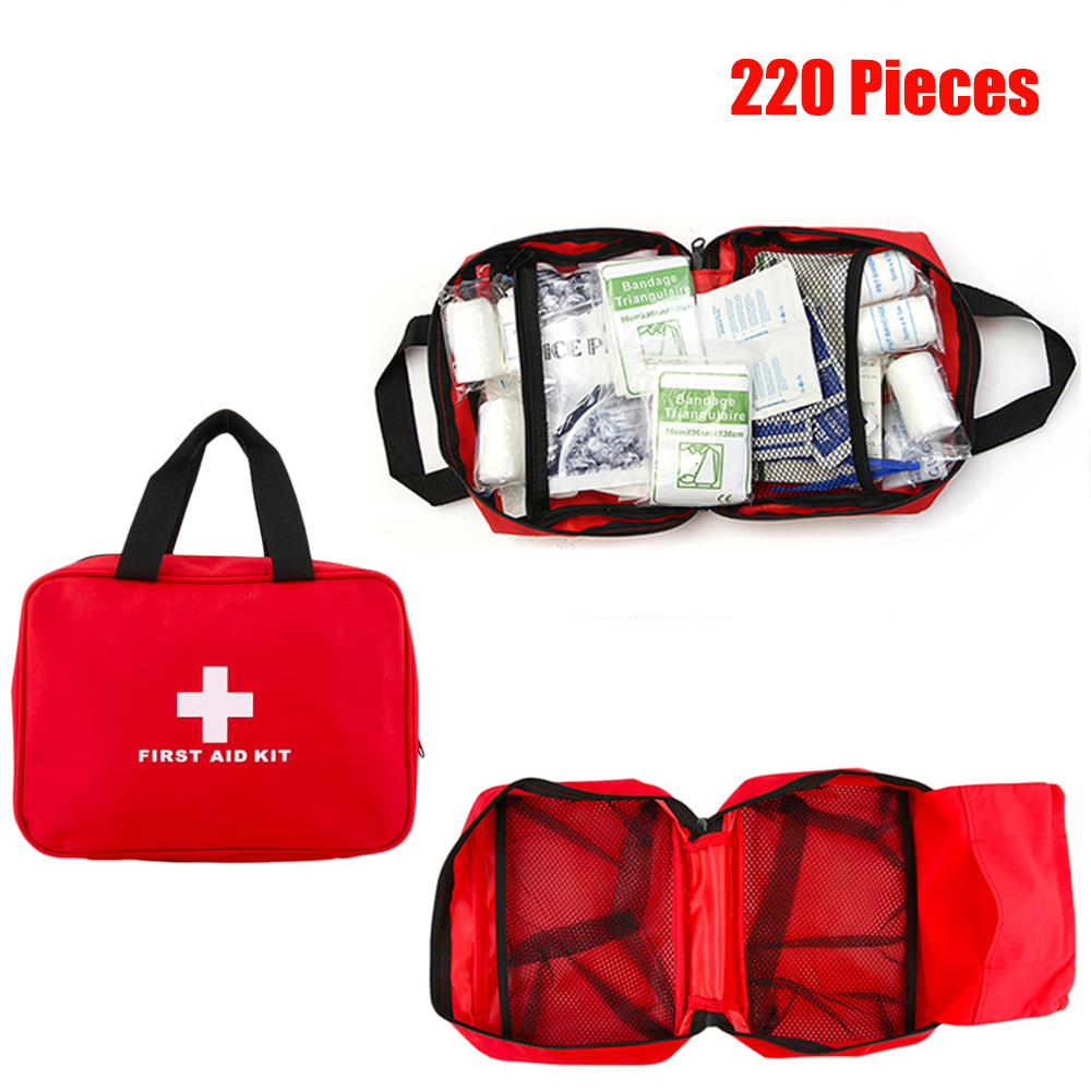 220Pcs Portable First Aid Kit Bag Outdoor Waterproof Medical Bag For Home Travel Car Outdoor Camping Hiking Emergency Treatment