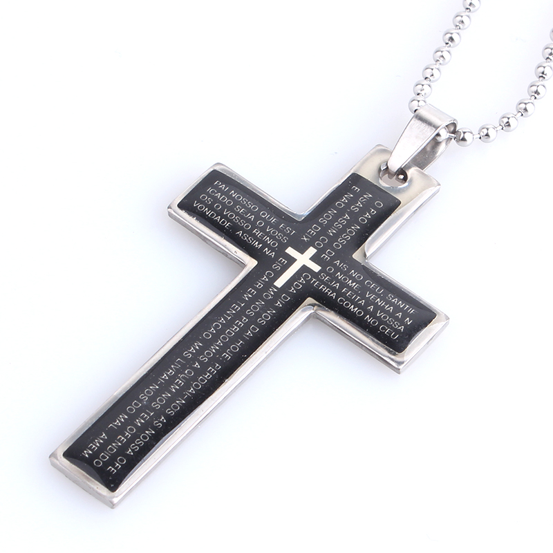 Black Oil Cross Holy Bible 316L Stainless Steel Pendant Necklaces Bead Chain For Men Women Wholesale