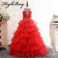 2015 Hot Sale Sexy Little Girl Pageant Dresses Organza Halter Ball Gown Lace Up Back Layers