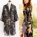 Women Summer Beach Cover up  Chiffon Long Blouses Vintage Floral Print Tops Plus Size