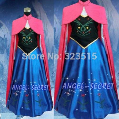 Nova Rainha da Neve Princesa Coroação Anna Feito Cosplay Para Mulheres Adultas Com Manto Vestido de Transporte Da Gota