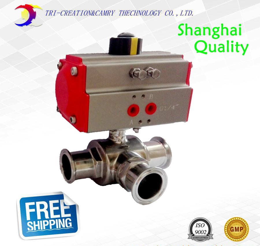 3/4 DN15 pneumatic food grade ball valve,3 way 304 quick-installed stainless steel valve_double acting T port valve 3 4 3 way stainless steel ss304 pneumatic electric ball valve