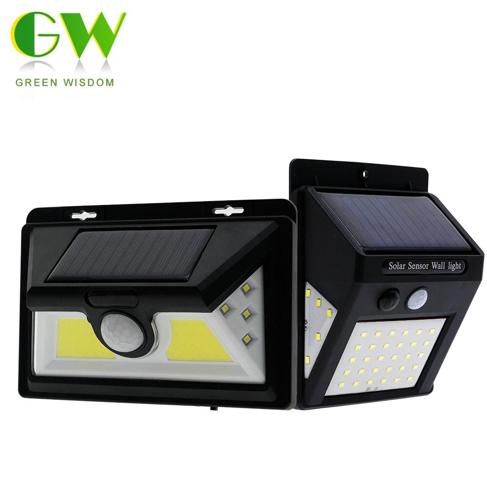 Outdoor Solar Powered LED Porch Light PIR Motion Sensor Solar Wall Lamp Waterproof Energy Saving Wall Lights for Garden Street