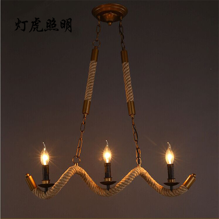 Creative Vintage wrought 3 heads iron rope Pendant lights Hot pot shop dining room restaurant corrugated three candle lampCreative Vintage wrought 3 heads iron rope Pendant lights Hot pot shop dining room restaurant corrugated three candle lamp
