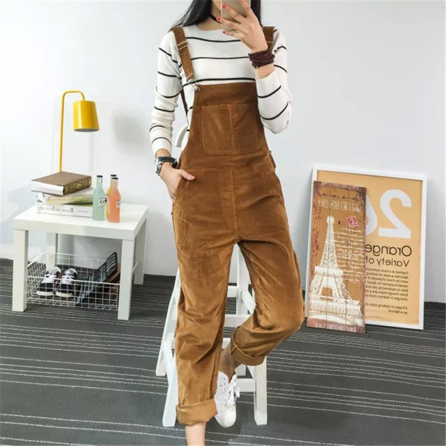 Spring  Women  Slim-type Corduroy Jumpsuits New Mori Girl Pocket Solid Adjustable Strap Pants Cute Preppy Jumpsuits Overalls