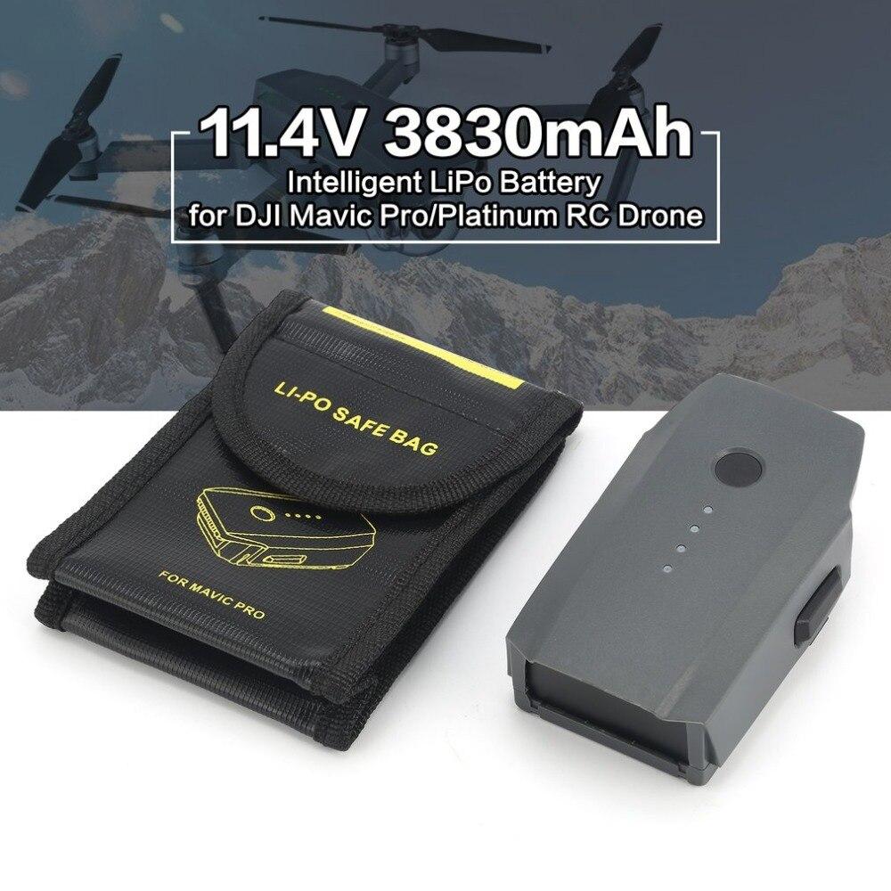 Remplacement Intelligent de batterie de LiPo de vol de rechange de 11.4 V 3830 mAh 3 S pour le Drone de RC de DJI Mavic Pro/Platinum FPV avec le sac sûr