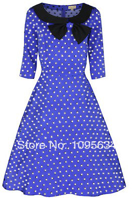 c4e49e132198 free shipping 3/4 Sleeve 1950s 1960s rockabilly Party Polka Dot Collar  Dress S 6XL-in Dresses from Women's Clothing on Aliexpress.com | Alibaba  Group