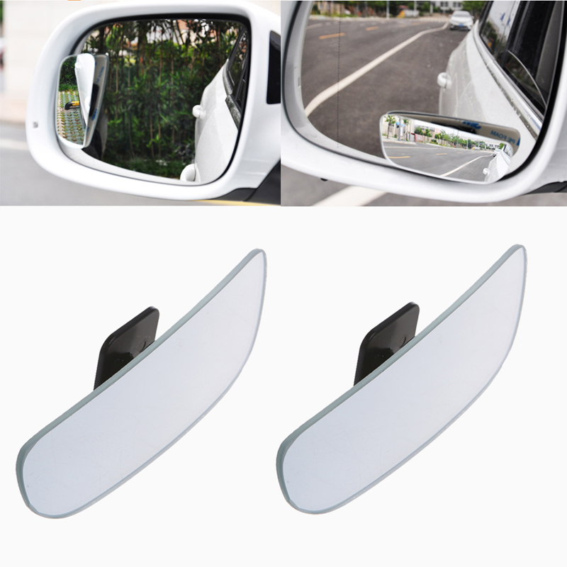 1Pair 360 Degree Adjustable Frameless Wide Angle Convex Blind Spot Rearview Car Mirror