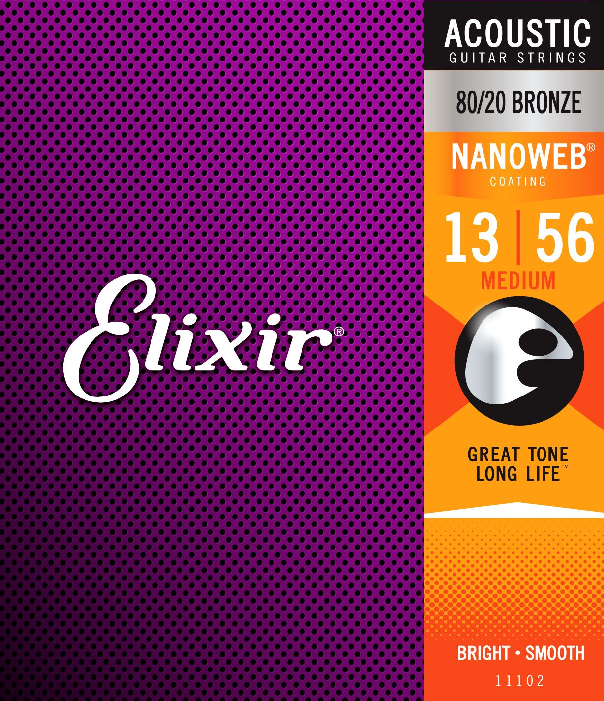 цена Elixir Original Strings 11102 80/20 Bronze Acoustic Guitar Strings with NANOWEB Coating, Medium (.013-.056) онлайн в 2017 году