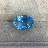 Tbj natural oval cut bird nest shinning cutting approx. 20 25ct natural loose blue topaz gemstone for diy jewelry