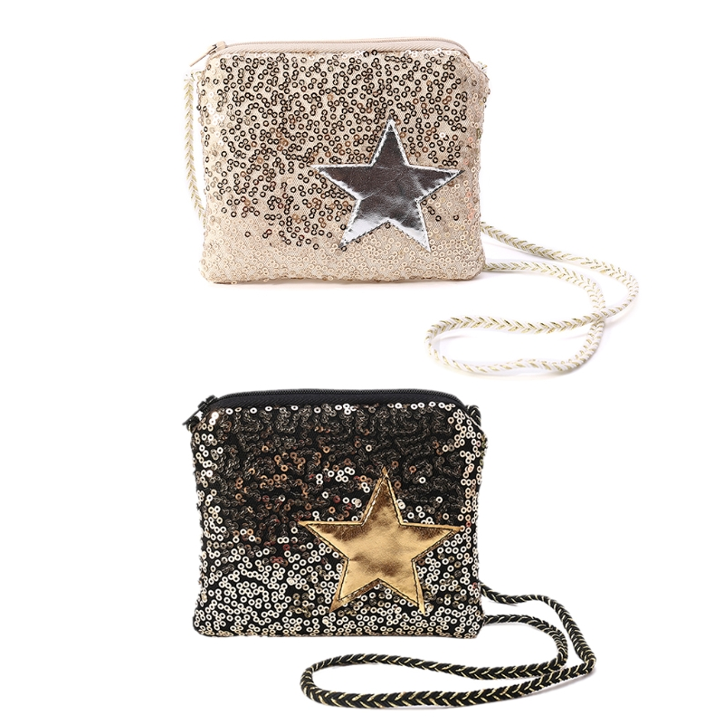 Crossbody Purse Handbag Wallet Shoulder-Bag Sequins Messenger Hobo Girl Kids title=