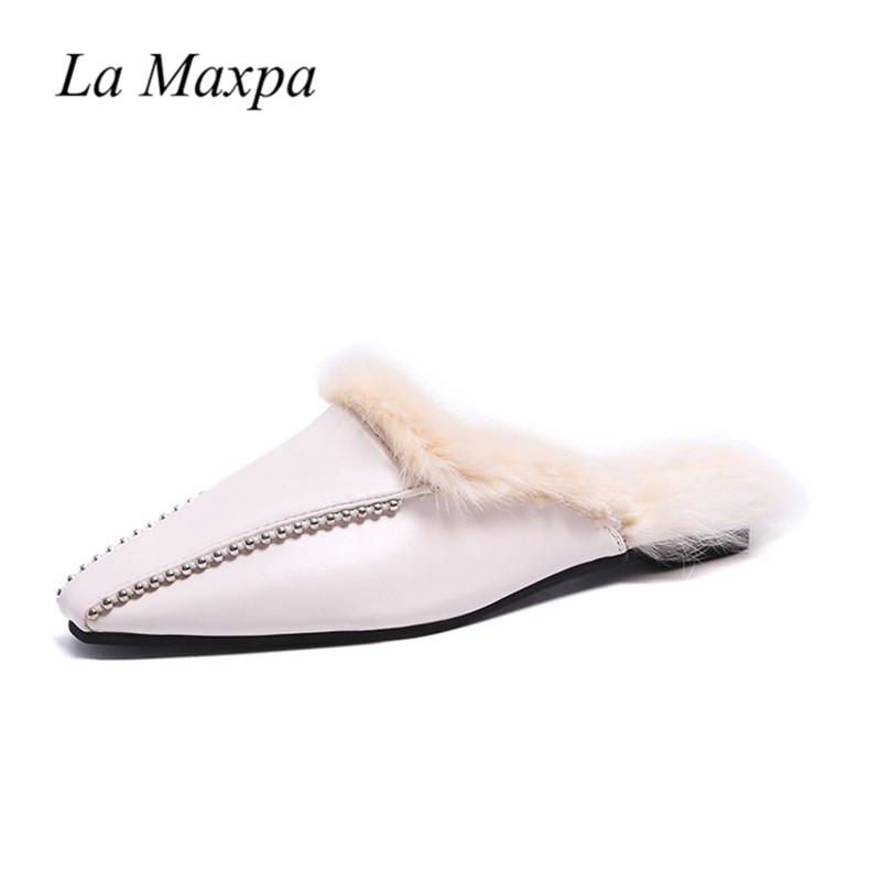 Piel black Zapatillas Negro De Blanco Conejo Cálido Slippers Cristal Mules Zapatos Mule Planos Slides Puntiagued Toe Beige Slide On Mujeres Moda 2019 Slip Mujer Mulas 4wqHgFv40