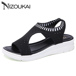 Women Sandals Summer 2019 New Female Shoes Woman Summer Wedge Comfortable Sandals Ladies Slip-on Flat Sandals Women Sandalias 11