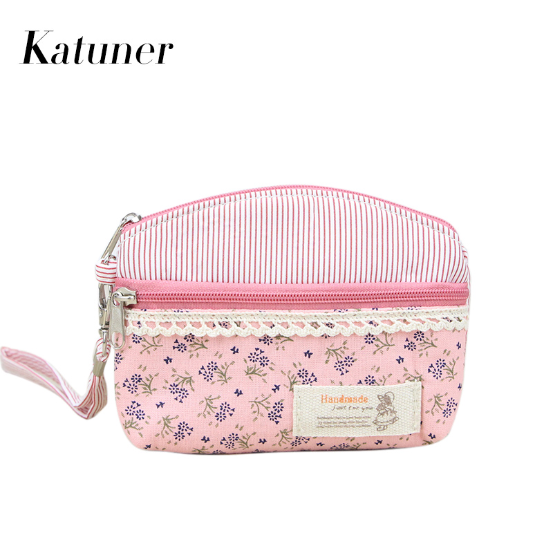 Katuner Dobule Zipper Women Clutch Coin Purse Key Card Bag Canvas Floral Kids Children Mini Wallet Girls Coin Pouch KB076