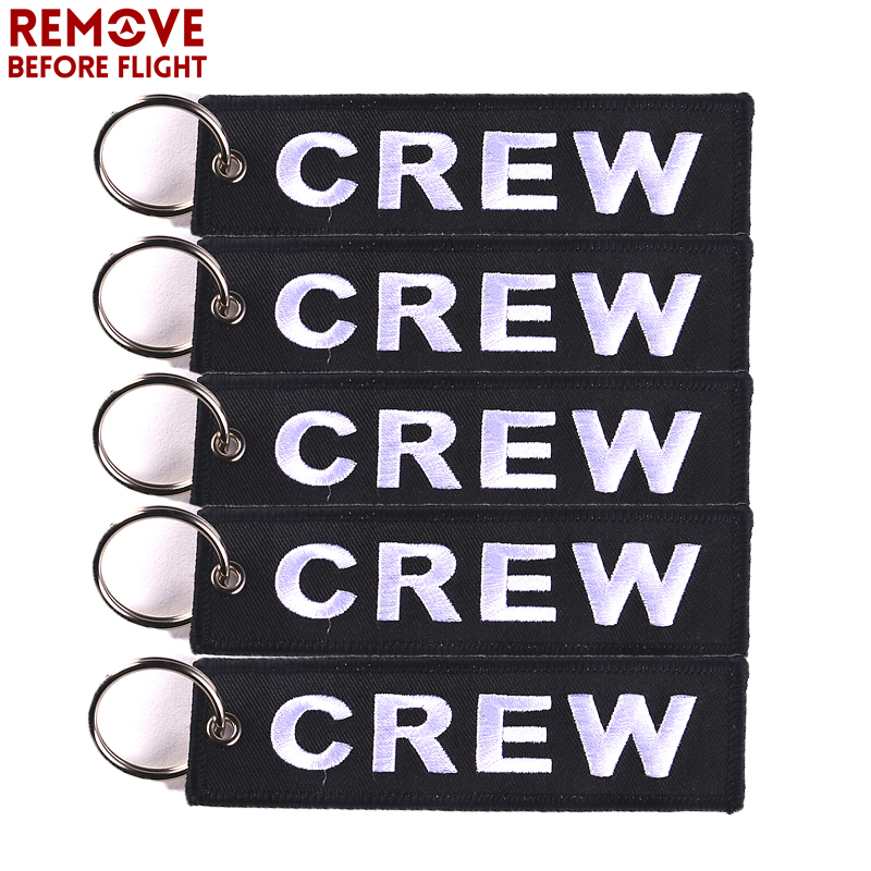 5PCS Black Crew Key Chain OEM Embroidery for Motorcycle Car Key Ring Holder llavero Luggage Tag Aviation Gift chaveiro Accessory