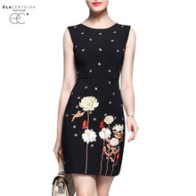 ElaCentelha Women Dress Embroidery Work Dress Sleeveless OL Lady Women Formal Bodycon Knee-length Dresses Vestidos
