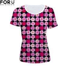 FORUDESIGNS Korean Style t shirt Women Rainbow Clothes t-shirt Rose Floral Ptinting Fashion Harajuku Tops Tees bt21