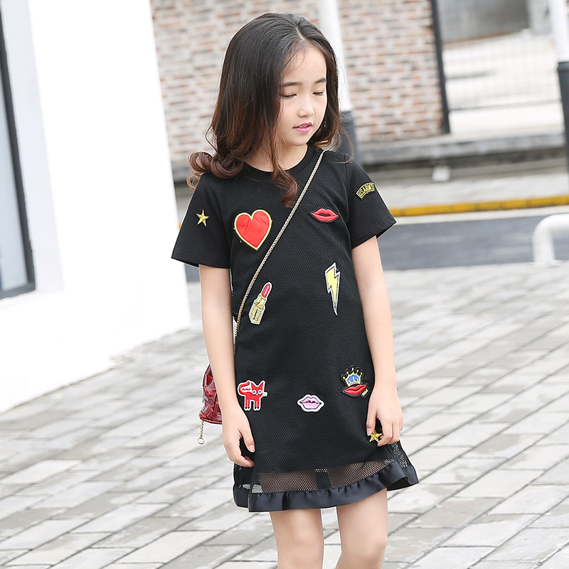 Sommer Mädchen Kleid für Teenager Mädchen Casual Dress Kiss Star Appliques Mesh Schwarz Kinder Kleider Casual Kinder Kleid 6 8 10 12 14