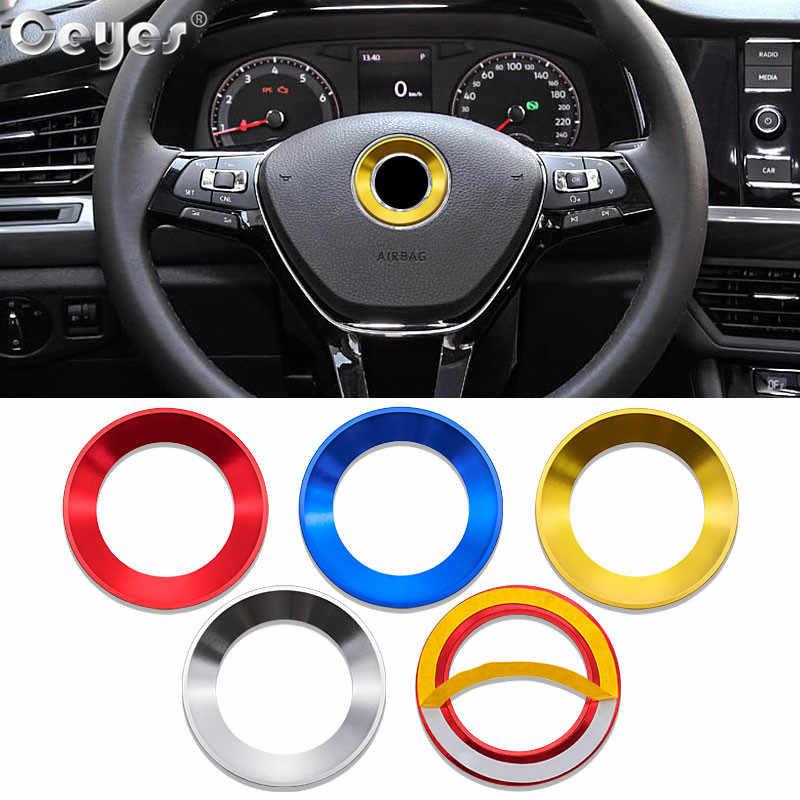 Ceyes 車のスタイリングのステアリングホイールリングフォルクスワーゲンゴルフ 6 7 ポロ CC ティグアン Vw パサートデコレーションステッカーカバーアクセサリー