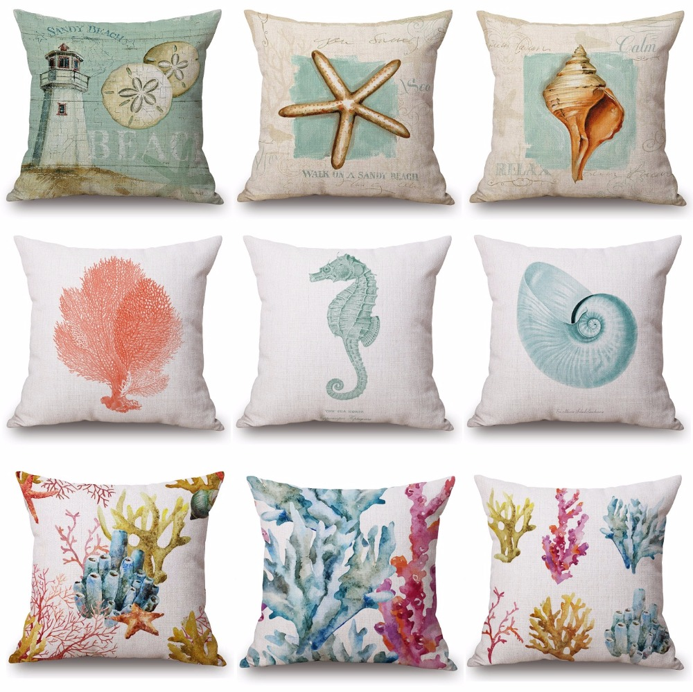 seahorse marine fish ocean cushion cover pillow case covers US SELLER