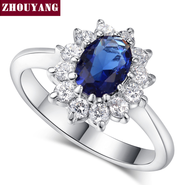 ZHOUYANG Princess Kate Blue Gem Created Blue Crystal Silver Color Wedding Finger