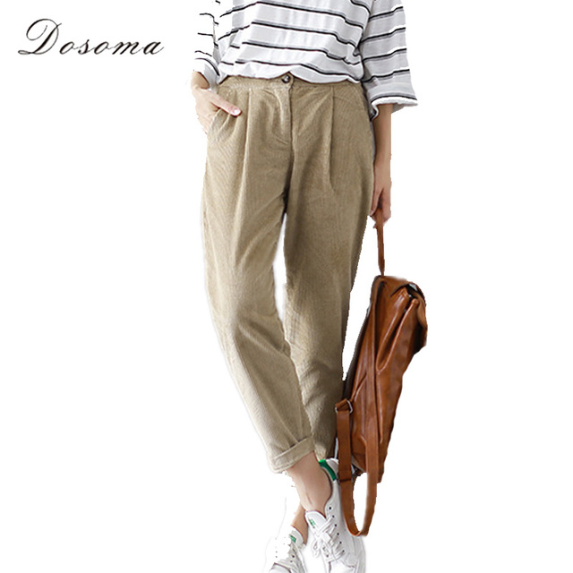 vintage loose corduroy pants women 2017 spring fresh khaki harem ...