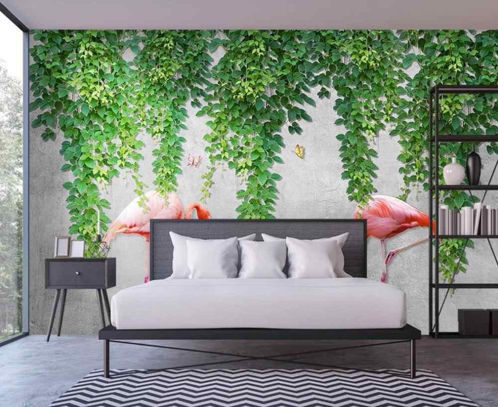 Papel de parede personalizado 3D afresco Nordic simples verde videira flamingo borboleta TV sofá fundo decoração da parede pintura