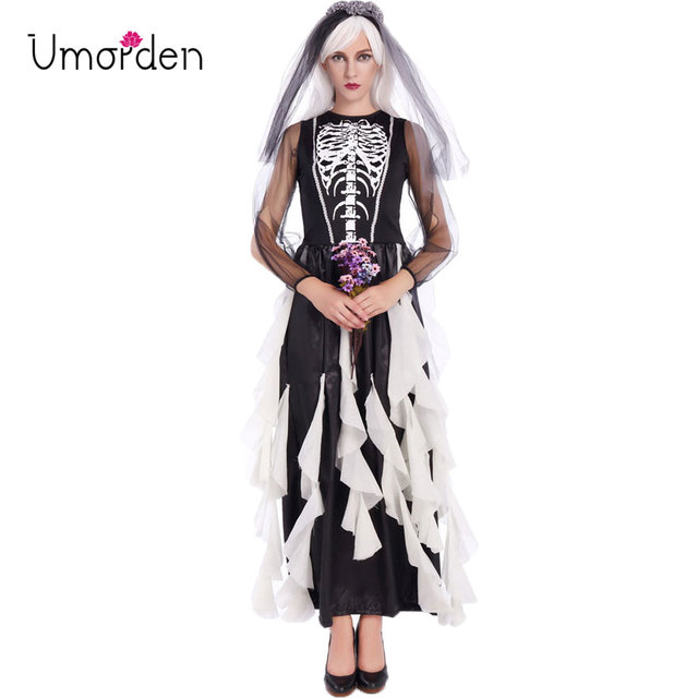 Umorden Purim Carnival Halloween Corpse Ghost Skeleton Bride Costumes Scary  Anime Bride Costume Cosplay Long Dress For Women