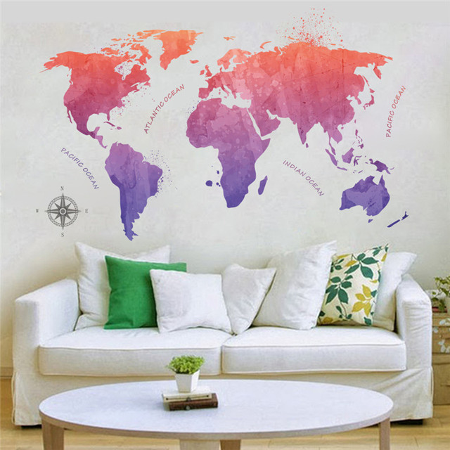 Colorful World Map Wall Stickers Living Room Bedroom Office School