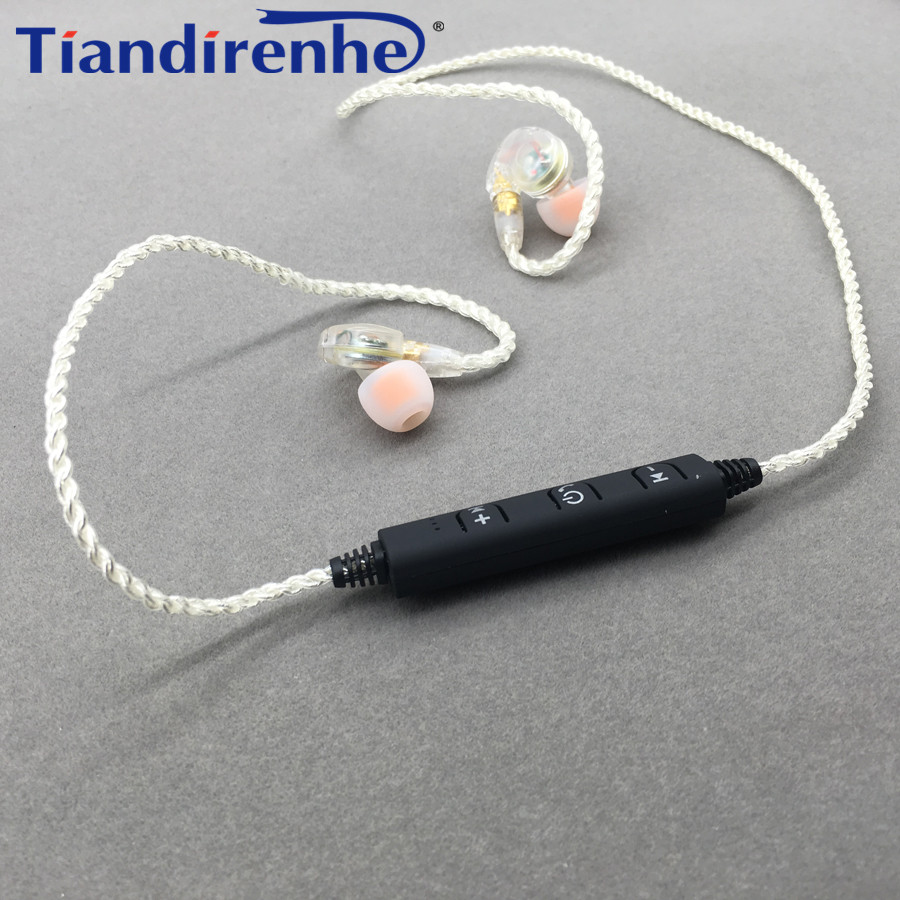 MMCX DIY SE215 Bluetooth Earphone Original Silver Plating 76 Cores Cable Detachable Wire for Shure SE315 SE535 SE846 UE900 areyourshop 5pair black silver rhodium plated earphone pin atl style for mmcx um60 ue900 se535 se215