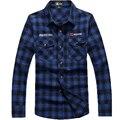 Afs jeep marca clothing qualidade do algodão camisa xadrez azul vermelho e cor verde plus size 4xl camisas dos homens 89