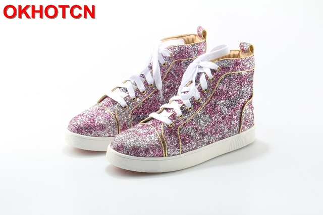 2017 Fashion New Bling Bling Patent Leather Women Casual Shoes Lace Up Glitter  Flat Shoes Brand Design High Top Silver Red Shoes 5c14087e9c