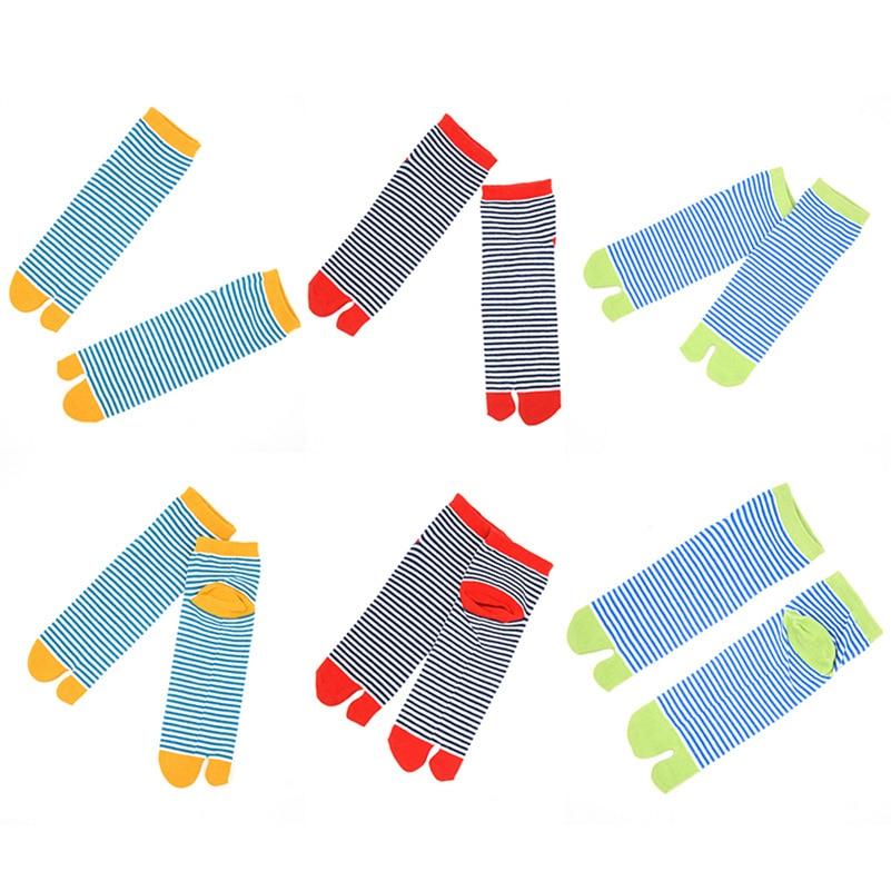 5 Pairs Unisex Men Women Socks Japanese Kimono Flip Flop Sandal Split Toe Tabi Ninja Geta Socks Cute Striped Couples Short Sock