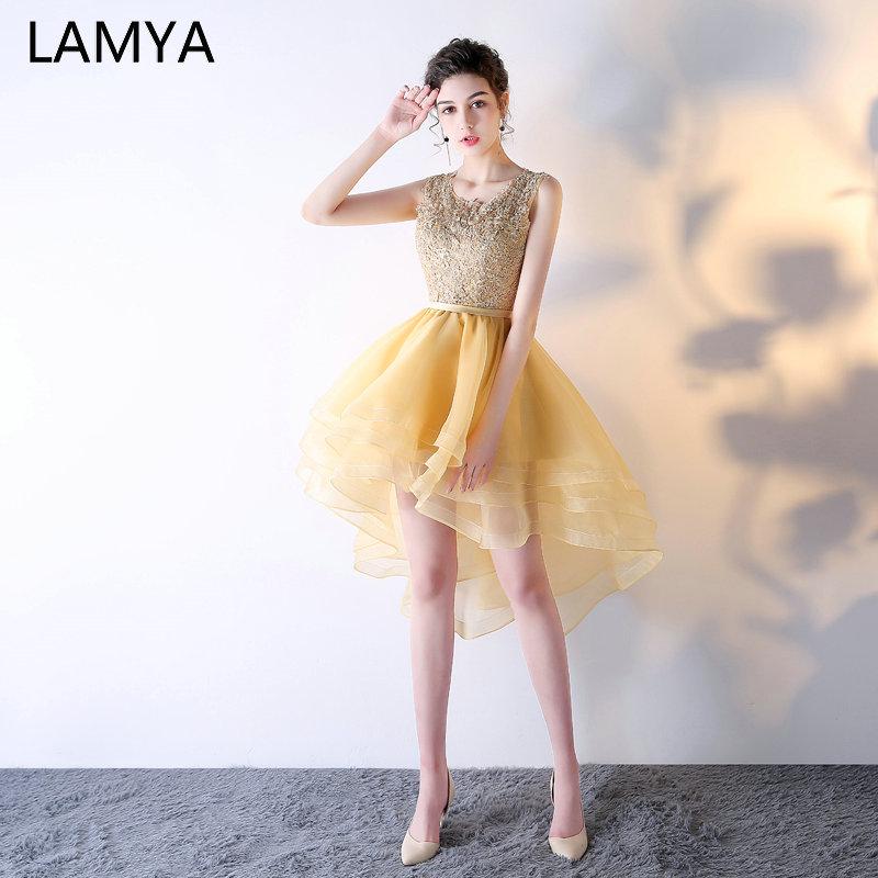LAMYA Elegant Gold High Low Cocktail Dresses Customized Evening Party Dress Short Front Long Back Gown 2019 Vestidos De Festa