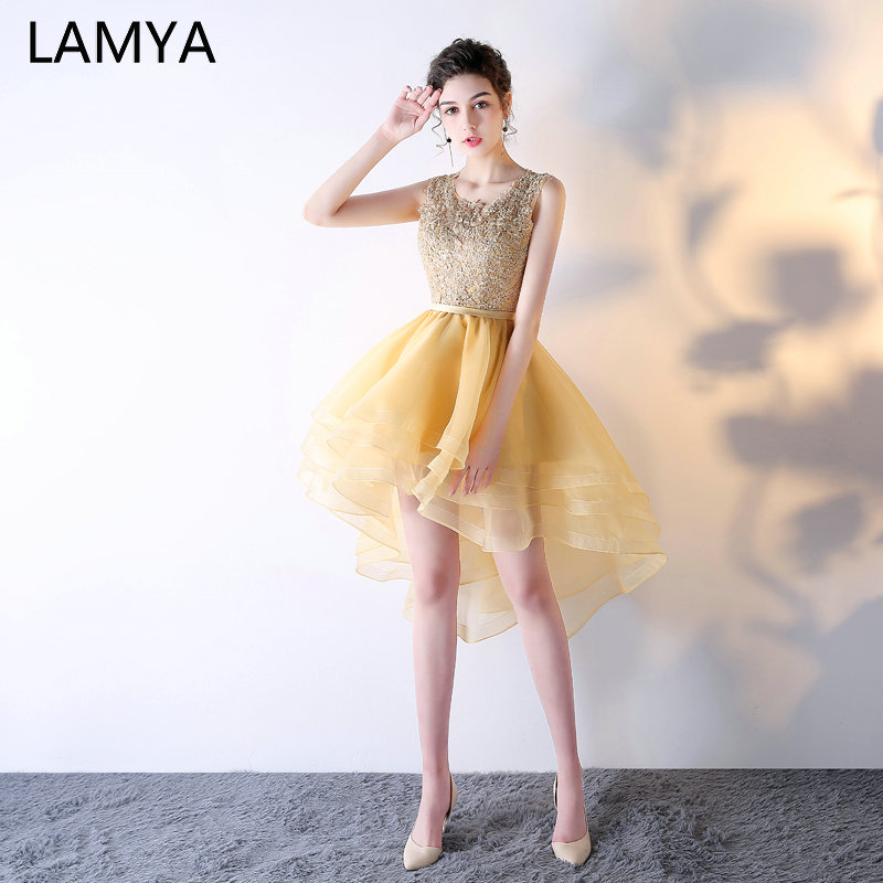 LAMYA Elegant Gold High Low   Cocktail     Dresses   Customized Evening Party   Dress   Short Front Long Back Gown 2019 vestidos de festa