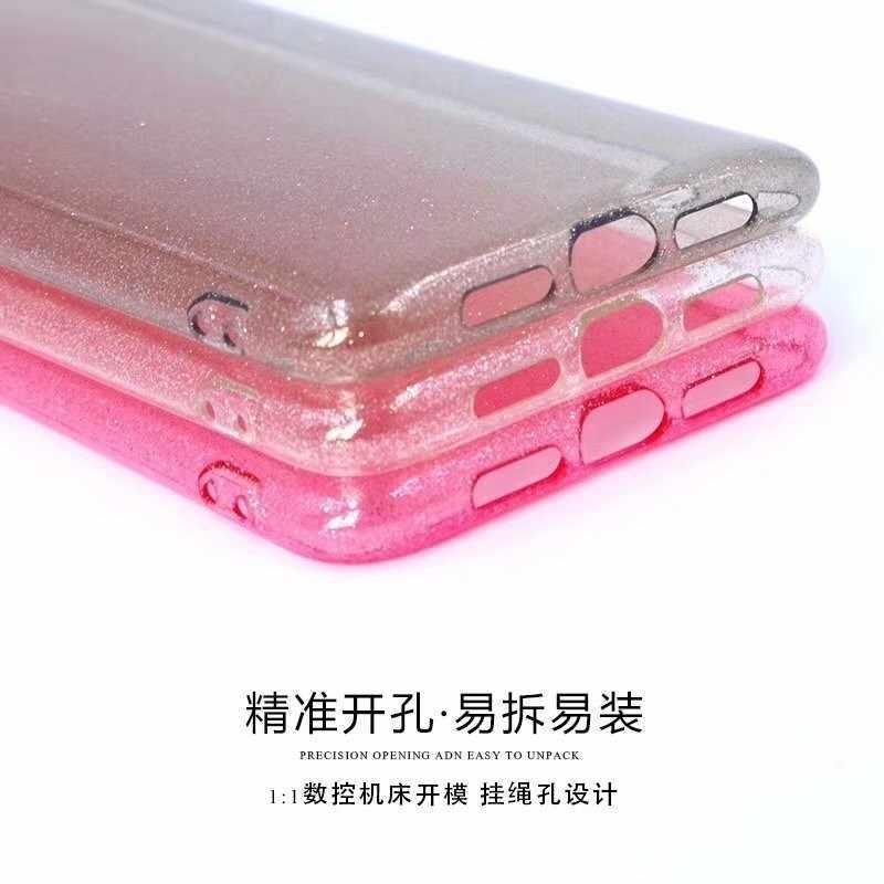 Cao cấp Sáng Bóng Bột Vàng Ốp Lưng Điện Thoại Cho Iphone X XR XS Max 8 7 Plus 6 6 S 6 S Plus Trong Suốt mềm TPU Chống Sốc Bling Lưng