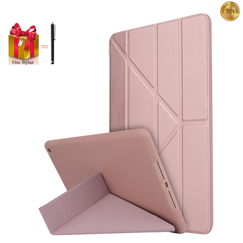 For iPad 2017 9.7 Luxury Ultra Thin Case Transformer Flip Leather Cover For iPad 2017 Silicone Stand Tablet Fundas+Pen