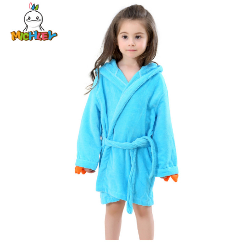 MICHLEY Kids Bath Robes Adorable Baby Girl Roupao Hooded