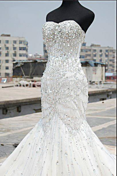 Luxury Silver Crystal Wedding Dresses 2017 Beading Sweetheart Mermaid Sparkly Bridal Gown Formal