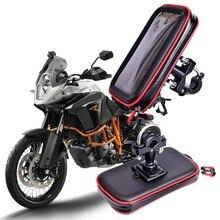 Bolsa impermeable para soporte de teléfono para motocicleta GPS, para manillar de bicicleta, con ranuras para tarjetas