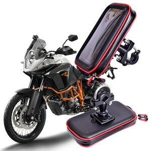 Image 1 - Newest Upgrade Waterproof Bag GPS Motorcycle Phone Holder Bag Bicycle Phone Holder Bike Handlebar Support Moto Mount Card Slots