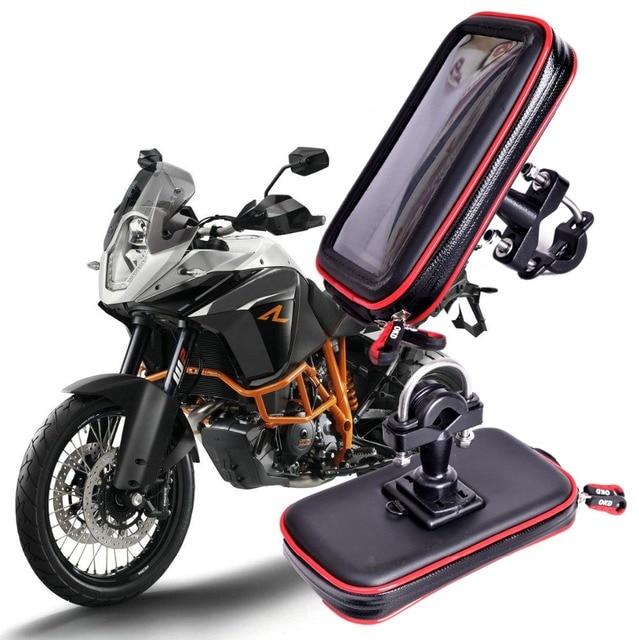 最新のアップグレード防水バッグgpsオートバイ電話ホルダーバッグ自転車電話ホルダー自転車ハンドルサポートモトマウントカードスロット